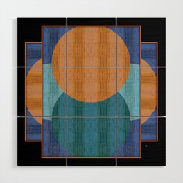 Orange Blues Geometric Shapes Wood Wall Art