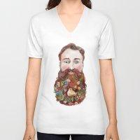 beard V-neck T-shirts featuring Beard by bordrog