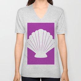 Seashell (White & Purple) Unisex V-Neck