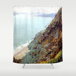 Golden Gate from the Ocean Cliffs of San Francisco by Theodore Wores - Vintage Painting Shower Curtain