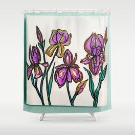 Iris with glitter Shower Curtain