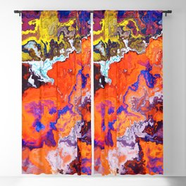 Vibrant Marble Texture no6 - Red Sunset over the Sea Blackout Curtain