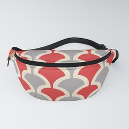 Classic Fan or Scallop Pattern 417 Gray and Red Fanny Pack