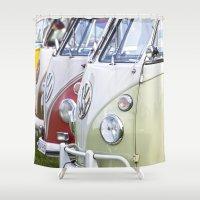 volkswagen Shower Curtains featuring Old Volkswagen Splitty Buses by Premium