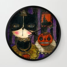 The Black Cat And The Jack-O-Lantern Wall Clock