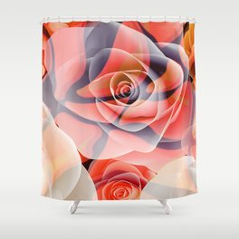 Transparent Tiger Rose Surreal Print Shower Curtain