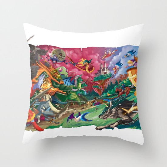 Zelda Mash Up Throw Pillow