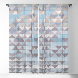 Triangle Pattern No.6 Crisp Blue Sheer Curtain