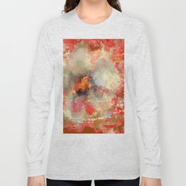 White Flower in Red Decoration Long Sleeve T-shirt