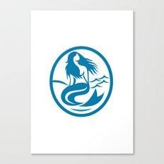 Mermaid Siren Sitting Singing Oval Retro Canvas Print
