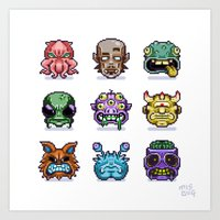 Monster Faces Art Print