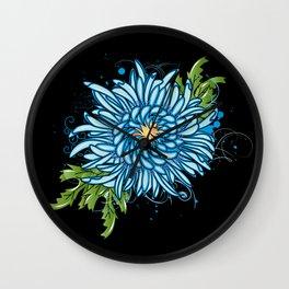 Blue chrysanthemum Wall Clock