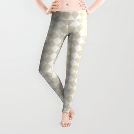 Small Diamonds - White and Pearl Brown Leggings