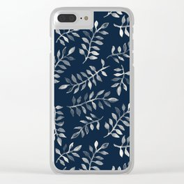 White Leaves on Navy - a hand painted pattern Clear iPhone Case