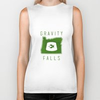 fez Biker Tanks featuring Gravity Falls - Grunkle Stan's Fez (White) by pondlifeforme
