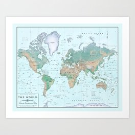 The World [Atlas] Shaded Relief Map Art Print