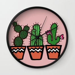 Cute Cacti In Pink Wall Clock