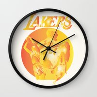 lakers Wall Clocks featuring Lakers by Istvan Antal