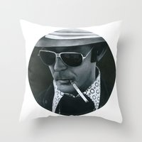hunter s thompson Throw Pillows featuring Hunter S. Thompson on vinyl record print by Eric Popp