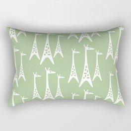 Mid Century Modern Giraffe Pattern 231 Sage Green Rectangular Pillow