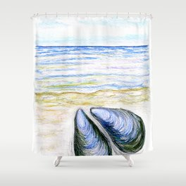 Blue mussel Shower Curtain
