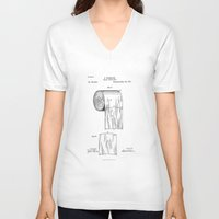 toilet V-neck T-shirts featuring Toilet Paper Patent Drawing by Patent Drawing