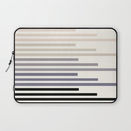 Grey Taupe Geometric Minimalist Staggered Stripes Simple Mid Century Zen Art Laptop Sleeve