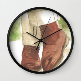 Edward Green, Galway Boots Suede by Lloyd Russell Wall Clock