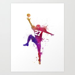 american football player man catching receiving silhouette Art Print