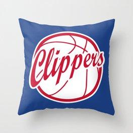 Clippers vintage baskeball logo Throw Pillow