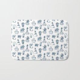 Blue Inky Cacti Bath Mat