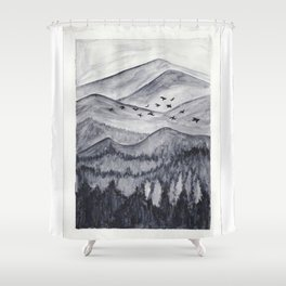 Forest Mountain Range Birds Flying Past Watercolor Painting Shower Curtain