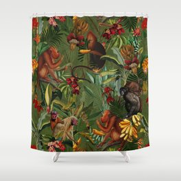 Vintage & Shabby Chic - Green Monkey Banana Jungle Shower Curtain