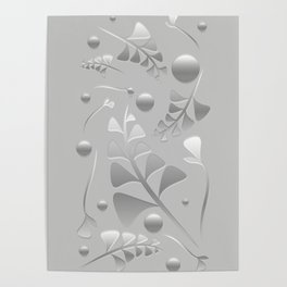 Vector pattern from silver black plants and grass blades on a gray background in vintage style. For Poster
