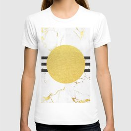 Luxurious golden marble with 3 black stripes T-shirt