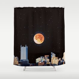 Blood Moon Over Pittsburgh Pennsylvania Skyline-Night Sky and Stars Shower Curtain