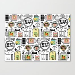 Pattern Stay Happy Animals Canvas Print