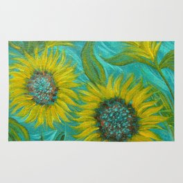 Sunflower Abstract on Turquoise I Rug