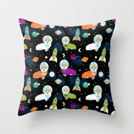 Welsh Corgi outer space cadet space camp rockets astronaut dog breed corgis gifts Throw Pillow