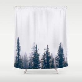 Minimalist Landscape Photo Pine Tree Silhouette Misty Forest Shower Curtain