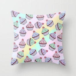 Cute Colorful Rainbow Foodie Cherry Cupcakes Throw Pillow