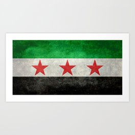 Independence flag of Syria, vintage retro style Art Print