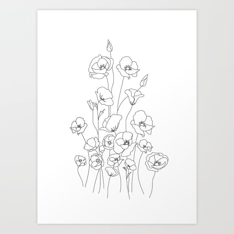 Poppy Flowers Line Art Art Print
