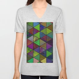 Textured Triangulation - Abstract, geometric triangles Unisex V-Neck