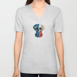 Cute Puppy Dog with flag of Texas Unisex V-Neck