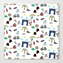Triathlon Doodles Canvas Print