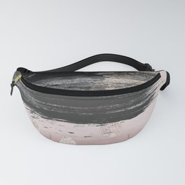 Abstract blush pink black gray gold glitter brushstrokes Fanny Pack