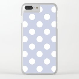 Light periwinkle - grey - White Polka Dots - Pois Pattern Clear iPhone Case