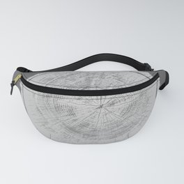 Realistic monotone photo of detailed cut tree slice with rings and organic texture Fanny Pack