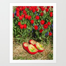 Wooden Shoes and Tulips Art Print